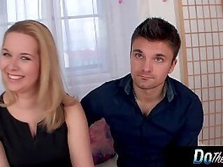 Blonde wife mouth fucked hard with her husband watching